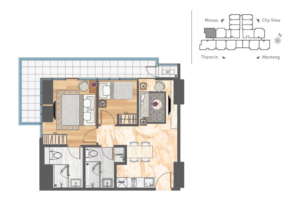 Apartemen di Pusat Jakarta - 2 Bedroom