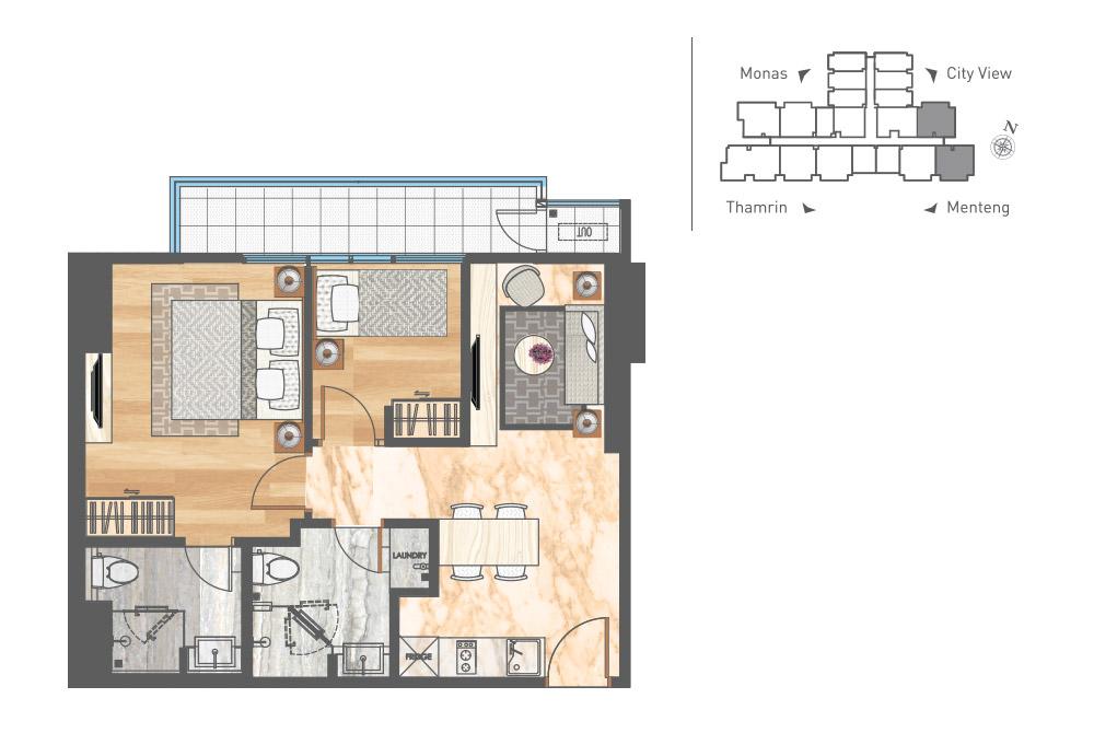 Apartemen Menteng - 2 Kamar Tidur