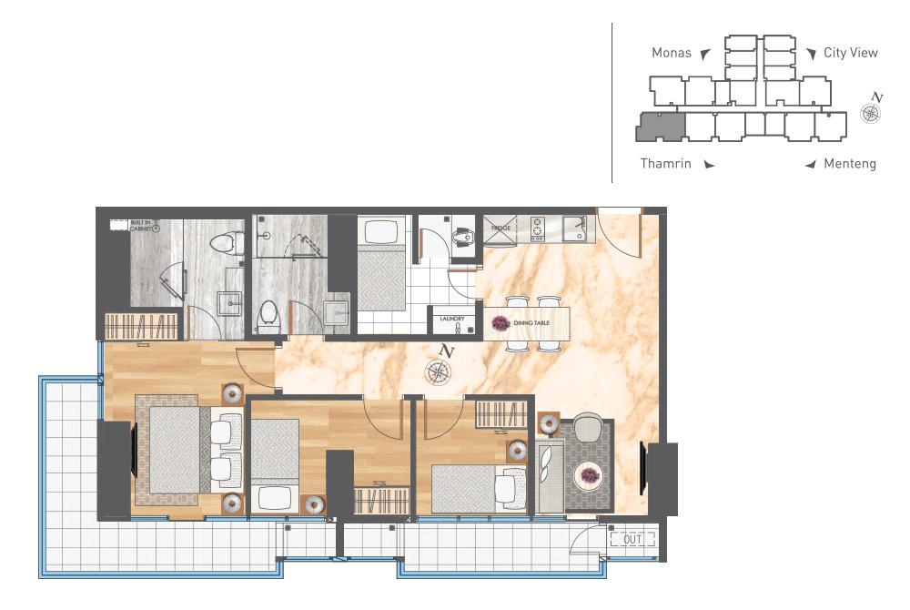 Apartment In Menteng Area - 3 Bedroom