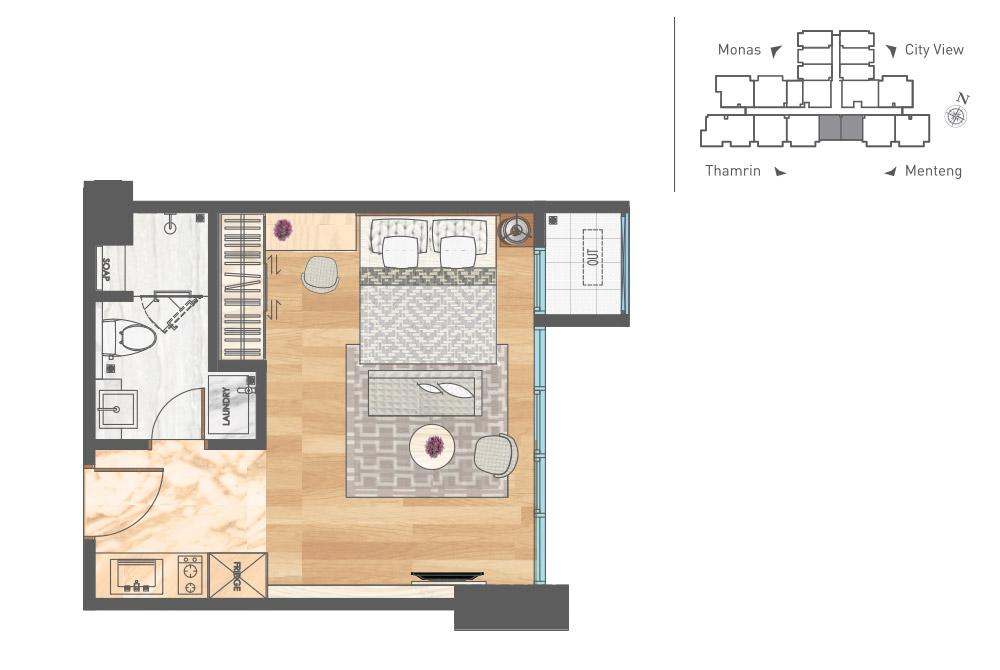 Menteng Area Studio Apartemen